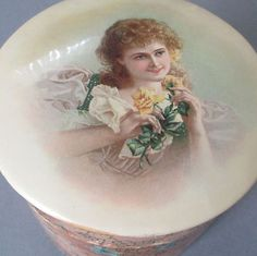 Antique-Victorian-CELLULOID-Round-Collar-Box-Portrait-LADY-w-ROSES-Pink-Lining