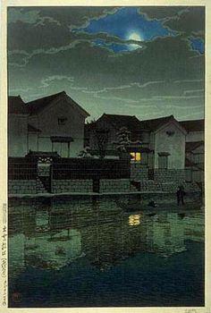hanga gallery . . . torii gallery: Cloudy Moon at Matsue, Izumo by Kawase Hasui