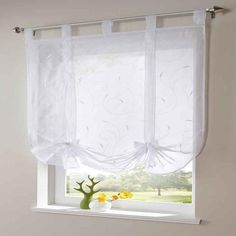 Roman shade European embroidery style tie up window curtain kitchen curtain voile sheer tab top window brand curtains cortinas Tie Up Curtains, Balloon Curtains, Roman Curtains, Short Curtains, Curtains With Blinds, Roman Blinds, Mini Blinds, Drapery Panels, Valances