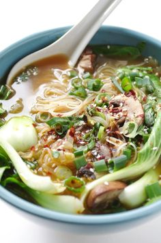 This Asian vegetable soup is loaded with bok choy, cremini mushrooms, scallions, and rice noodles, but you could easily add shrimp, chicken, or tofu for more protein. Get the recipe.