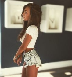 shorts denim shorts cut off shorts ripped shorts ripped jeans crop ripped top white girly pretty cute sexy high waisted shorts beautiful crop tops cropped tumblr tumblr clothes tumblr girl instagram long hair urban denim