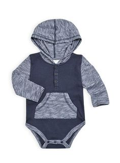 Pumpkin Patch - bodysuits - kangaroo pocket bodysuit - W4BB15011 - captain blue - newborn to 12-18m
