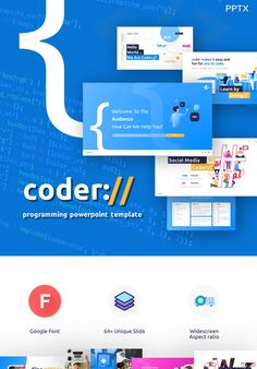 Coder - Programming PowerPoint Template is a very interesting powerpoint template and very easy to use. It is suitable for all kinds of business purposes, Business Presentation, Presentation Design, Presentation Templates, Slide Design, Web Design, Software, Office Themes, Logo Creation, New Technology