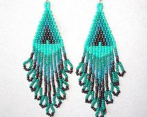 Native American Style Beaded Turquoise Flame Earrings Turquoise, Peacock Southwestern, Boho, Hippie Ready to Ship Great Gift