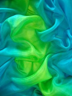 Turquoise and lime green ombre silk veil