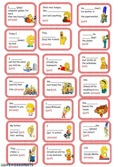 Present Perfect Card Game (already, yet, just, recetly, lately) worksheet - Free ESL printable worksheets made by teachers English Grammar Games, Grammar Jokes, Grammar Posters, Grammar Lessons, Grammar Practice, English Vocabulary, English Teaching Materials, Teaching English, English Lessons
