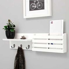 Kiera Grace Sydney Wall Shelf and Mail Holder with 3 Hooks, by White This coat rack shelf features. Wall Shelf Rack, Wall Shelf With Hooks, White Wall Shelves, Coat Rack Shelf, Wood Wall Shelf, Wall Mounted Coat Rack, Wall Mounted Shelves, Display Shelves, Floating Shelves