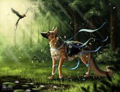 Art was painted at the request of the hostess. Art-trade with German shepherd Centary (Центари). Art(c) Azany Centary - Spirit of Forest Cute Animal Drawings, Animal Sketches, Cute Drawings, Beautiful Wolves, Animals Beautiful, Cute Animals, Dog Chinese Zodiac, Anime Character Drawing, Spiritual Animal