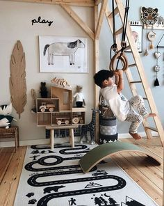 Top 10 Kids Room Decor Ideas With Wooden Elements. Wood is not very beautiful, b. - Top 10 Kids Room Decor Ideas With Wooden Elements. Wood is not very beautiful, but safe and healthy - Playroom Decor, Kids Decor, Nursery Decor, Decor Ideas, Playroom Ideas, Childrens Bedroom Ideas, Nursery Office, Childrens Beds, Diy Decoration