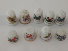 Vintage Porcelain Thimbles with Birds Set of Nine by AlwaysPlanBVintage on Etsy