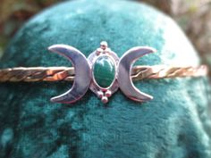 Brass Circlet Double Moon in 925 Silver with by SpiritoftheGoddess, $48.00