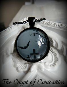 Gothic black and grey graveyard and bat by TheCryptOfCuriositie