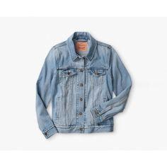 Boyfriend Trucker Jacket (€65) ❤ liked on Polyvore featuring outerwear, jackets, boyfriend denim jacket, denim jacket, oversized denim jacket, oversized boyfriend jacket and blue jean jacket
