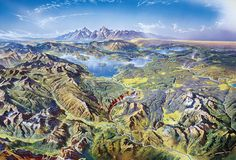 The line between panoramic map and landscape painting can be blurred, as in this outrageously stunning map of Yellowstone by the Swiss cartographer Heinrich Berann, 1989