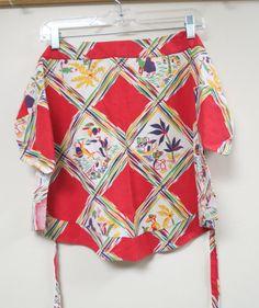 Vintage Flour Sack Sacking Apron Red Colorful by KansasKardsStudio, $8.50