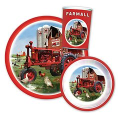 "Farmall Child's Dinner Set | ShopCaseIH.com. This sturdy 100% Melamine Farmall Child's Dinner Set features a full-color image of a Farmall tractor in a barnyard. Artwork is a re-creation of an original painting by Donald Zolan. Dinner set includes an 8"" plate, 5"" bowl and 8-oz. tumbler. This trio of dinnerware is dishwasher safe, but is not suitable for use in the microwave. #Farmall #kids #dishes #tractor"