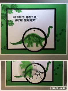 Dinosaur skeleton card using Stampin' Up! set No Bones About It