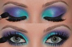 purple and teal - these look like cream eyeshadows