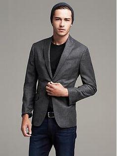 Modern Slim-Fit Charcoal Wool Suit Jacket
