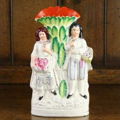 Staffordshire Pottery Figural Group Spill Vase