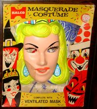 Vintage Halloween costumes and masks for sale. Collegeville, Ben Cooper Spook Town, Halco.