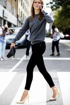 Model-Off-Duty: Karmen Pedaru | Sweater   Heels In NYC