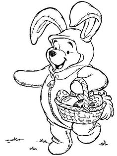 winnie the pooh on easter bunny costume disney coloring pages