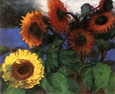 Yellow and Brown-Red Sunflowers ~ Emil Nolde | Lone Quixote ...