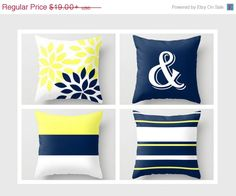 SALE Throw Pillow Geometric Home Decor Navy by HLBhomedesigns