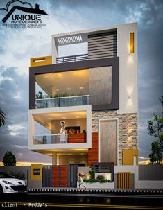 Introducing modern house exterior elevation by Er. Indian House Exterior Design, Modern Exterior House Designs, Unique House Design, House Front Design, Modern Architecture House, Modern Houses, 3 Storey House Design, Bungalow House Design, House Elevation