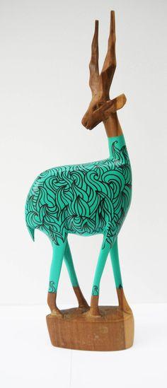 Vintage Retro Original Hand Carved African Hipster Gazelle - Jade Waves