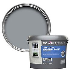 Colours Premium One Coat Storm Grey Smooth Masonry Paint 5L | Departments | DIY at B&Q