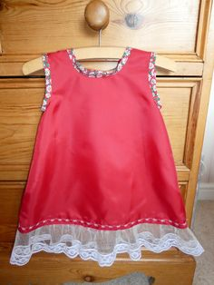Baby girl Red satin underskirt with tulle and lace frill