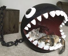Provide shelter for your kitty like any self respecting gamer would by offering him this chain chomp cat bed. Modeled after one of Mario's deadliest foes, it provides a comfortable place for Mr. Whiskers while doubling as an excellent addition to any game room.