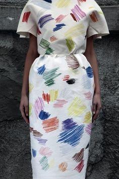 Vika Gazinskaya, white printed dress