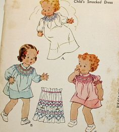 Vintage 1930s Sewing Pattern McCall's 442 Infants'