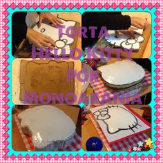 My first tutorial and my firts Hello kitty cake. (with a rectangular cake (part1))  Mi primer tutorial Y mi primer Torta Hello kitty (sin moldes, partiendo de una torta rectangular común (parte1)) #Kitty #party #cake La decoración viene en la parte2. Torta Hello Kitty, Cat Party, Cakes And More, Cake Decorating, Birthday Parties, Tutorials, Cookies, Amber, Party Ideas