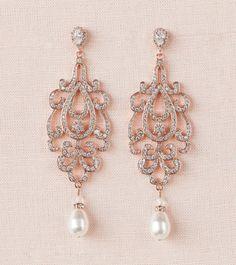Bridal-Ohrringe Gelbgold Hochzeit Ohrringe lange Kristall