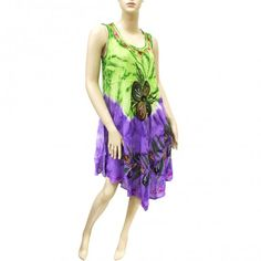 Embroidered Tie Dye Dress Green Purple 10017 (6 Pcs)