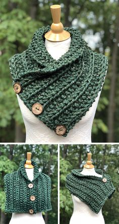 Knitting Pattern for Easy Convertible Rustic Neckwarmer, Shoulder Cozy, and Mini. Knitting Pattern for Easy Convertible Rustic Neckwarmer, Shoulder Cozy, and Mini Poncho - Easy versatile 3 button scarf . Crochet Poncho, Knit Or Crochet, Crochet Scarves, Crochet Clothes, Crochet Vests, Crochet Edgings, Quick Crochet, Crochet Blankets, Crochet Motif