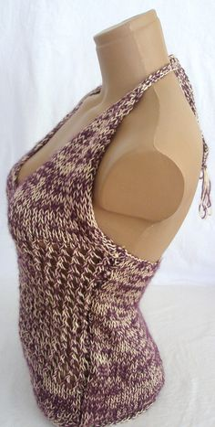 Hand knitted low back cream and purple blouse by Arzus on Etsy $39.90