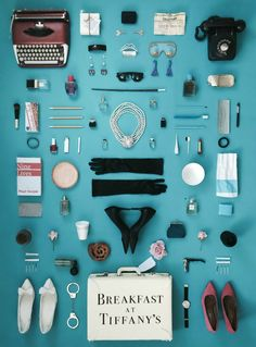 Breakfast at Tiffany's poster by Jordan Bolton, made by recreating objects from the fllm. poster in the 'Objects' series. Breakfast At Tiffany's Book, Breakfast At Tiffany's Poster, Wes Anderson Films, Wes Anderson Poster, Tiny Movie, Poster Minimalista, Photo New, Poster Art, Poster Ideas