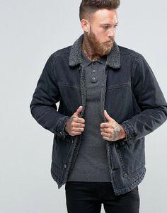 ASOS Fleece Lined Denim Jacket in Black Wash - Black