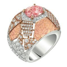 Sunset #Ring from #CafeSociety - #Chanel - #FineJewelry collection in 18K white and pink gold set with a 3 carat #OvalCut - #Padparadscha - #Sapphires and 205 #BrilliantCut - #Diamonds (3.2 cts) - July 2014