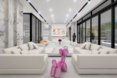 Contemporary Living Room with Ballot by Phase Design, Jeff Koons Inspired Pop Art Balloon Dog Figurine, Carpet
