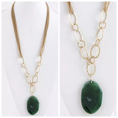 """D39 Natural Green Stone Long Statement Necklace Natural Stone Necklace Retail $149 ‼️ PRICE FIRM UNLESS BUNDLED WITH OTHER ITEMS FROM MY CLOSET ‼️  GORGEOUS!!! Natural green stone with textured hammered metal accent.  Necklace is approximately 33"""" long including 3"""" adjuster chain.  Stone is approximately 2.5"""" by 2"""". Sure to dress up even the most basic outfit!  Please check my closet for many more items including designer clothing, shoes, handbags, scarves and much more! Custom Jewelry…"""