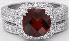 Garnet and Diamond Engagement Ring (GR-2076)