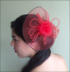 SINAMAY FASCINATOR , with Feathers, Crimson Red   /  F - 15