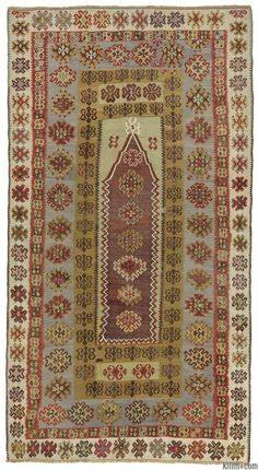Antique Yahyali prayer kilim handwoven in early 20th century. This finely woven piece is in very good condition. Yahyali is a town in Kayseri in Central Anatolia, Turkey.