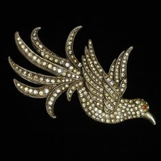 Rhinestone and Pot Metal Bird Pin Vintage Vintage Pins, Vintage Jewelry, Metal Birds, Bird Jewelry, Big Bird, Brooch Pin, Silver, Shopping, Brooch